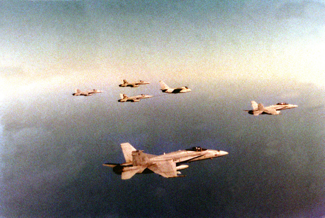 During a flight near the east coast of Florida, an S-3B Viking aircraft delivers fuel to one of the two Strike Fighter Squadron 137 (VFA-137) F/A-18A Hornet aircraft that are following closely behind it. In the foreground and at right are F/A-18C Hornet aircraft from Strike Figher Squadron 106 (VFA-106). At left is a F/A-18B Hornet aircraft from VFA-106