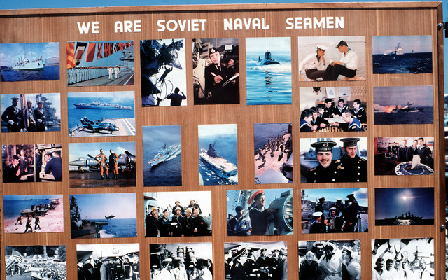 A collection of photographs is displayed aboard the Soviet guided missile destroyer ADMIRAL VINOGRADOV, one of the three Soviet Pacific Fleet ships that are in San Diego for a five-day goodwill visit. All three ships are open to visitors during their time in port