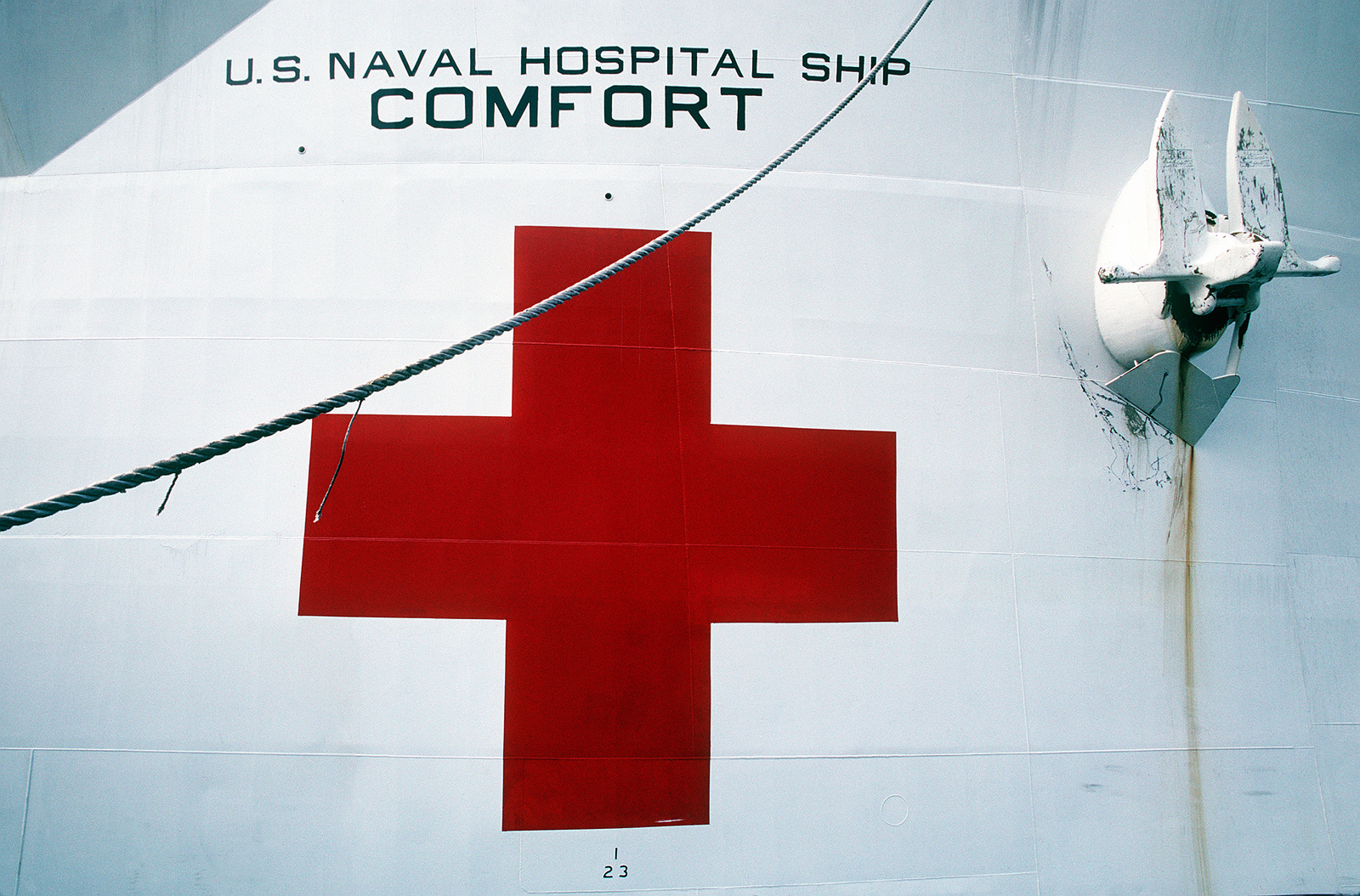 A close-up view of a portion of the bow of the hospital ship USNS COMFORT (T-AH-20). The COMFORT is preparing to depart for the Persian Gulf region, where it will remain on station in support of Operation Desert Shield