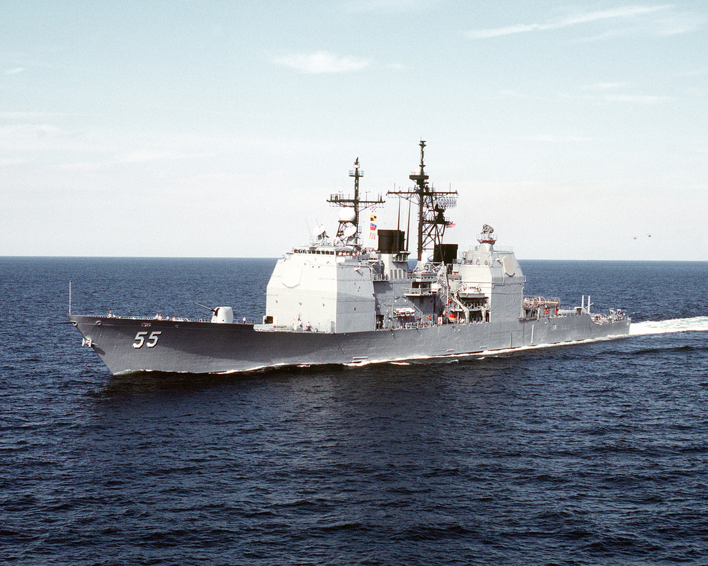 A port bow view of the guided missile cruiser USS LEYTE GULF (CG-55) underway en route to Naval Station, Norfolk, VA