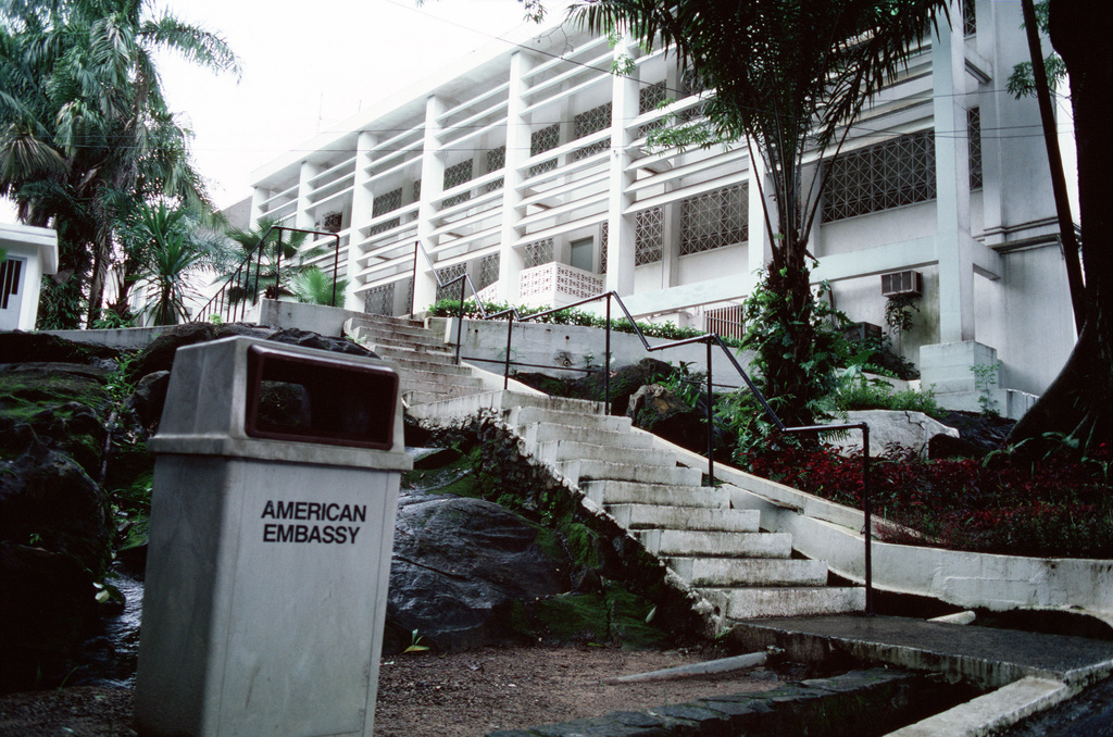 An exterior view of the American Embassy which is being evacuated ...