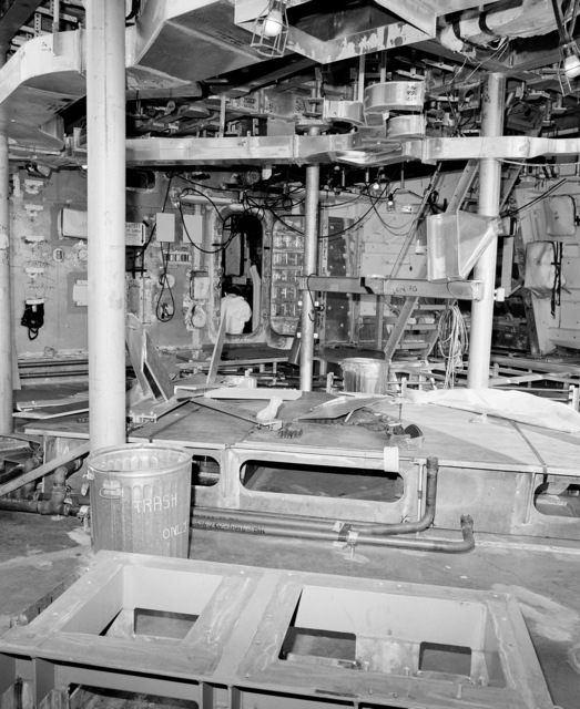A view of Aegis radar room No. 5 aboard the guided missile cruiser Lake Erie (CG 70). The ship is 40 percent complete at the Bath Iron Works shipyard