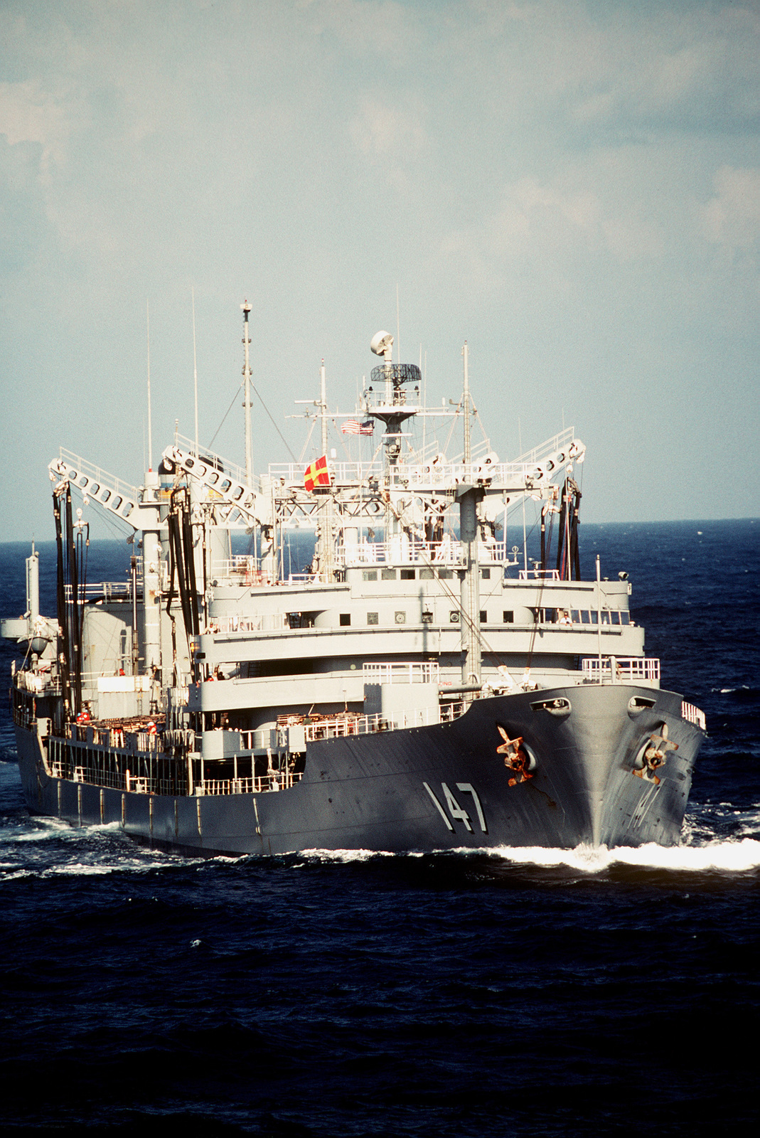 A starboard bow view of the fleet oiler USNS TRUCKEE (T-AO