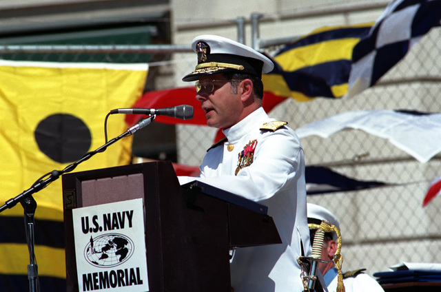Vice Admiral Jeremy Michael Boorda, CHIEF of Naval Personnel, Deputy of Naval Operations (manpower, personnel and training), speaks during the retirement ceremony of Captain Thomas G. Kelley which is being held at the United States Navy Memorial. During his distinguished naval career, Kelley received numerous awards, including the Medal of Honor for conspicuous gallantry while serving in Vietnam