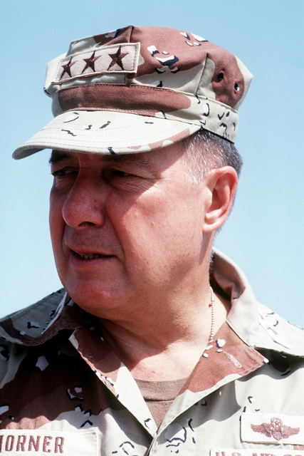 A close-up portrait of LT. GEN. Charles Horner, commander of 9th Air Force and U.S. Central Command Air Forces, as he is interviewed by AIRMAN Magazine during Operation Desert Storm
