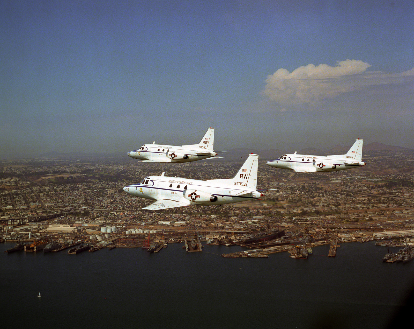 Aerial view of three US Navy (USN) CT-39E Saberliners, from