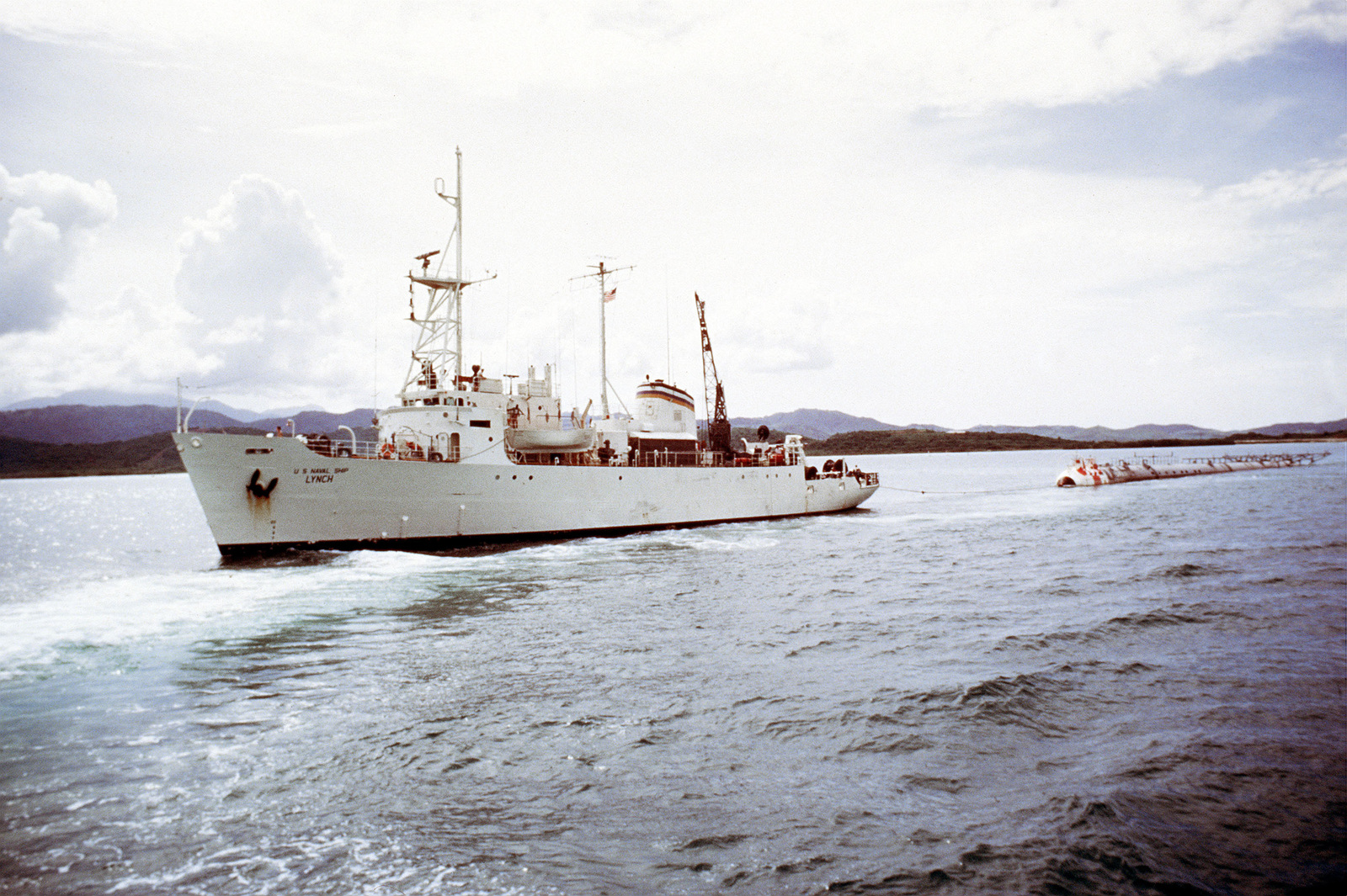 The oceanographic research ship USNS LYNCH (T-AGOR-7) departs U S