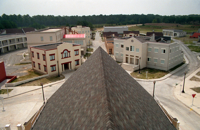 A view, looking south from the church steeple, of the combat village at the Military Operations in Urban Terrain (MOUT) Collective Training Facility
