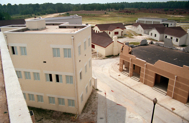 A view of, from left, an office building, homes and shops in the combat village at the Military Operations in Urban Terrain (MOUT) Collective Training Facility