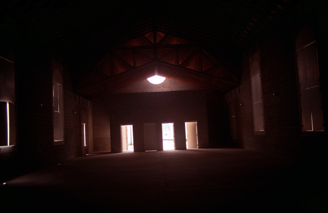 An interior view of the church in the combat village at the Military Operations in Urban Terrain (MOUT) Collective Training Facility