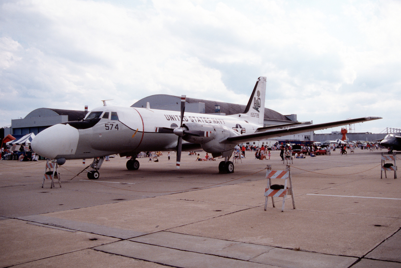 A left front view of an Attack Squadron 42 (VA-42) TC-4C Academe aircraft on display at an open house and air show. VA-42, a fleet readiness-training squadron for the A-6E Intruder aircraft, uses the TC-4C for bombardier/navigator training