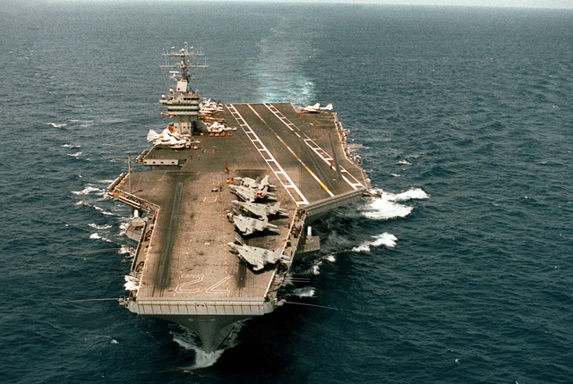 A bow view of the nuclear-powered aircraft carrier USS ABRAHAM LINCOLN (CVN-72) underway off Cape Henry, Va.