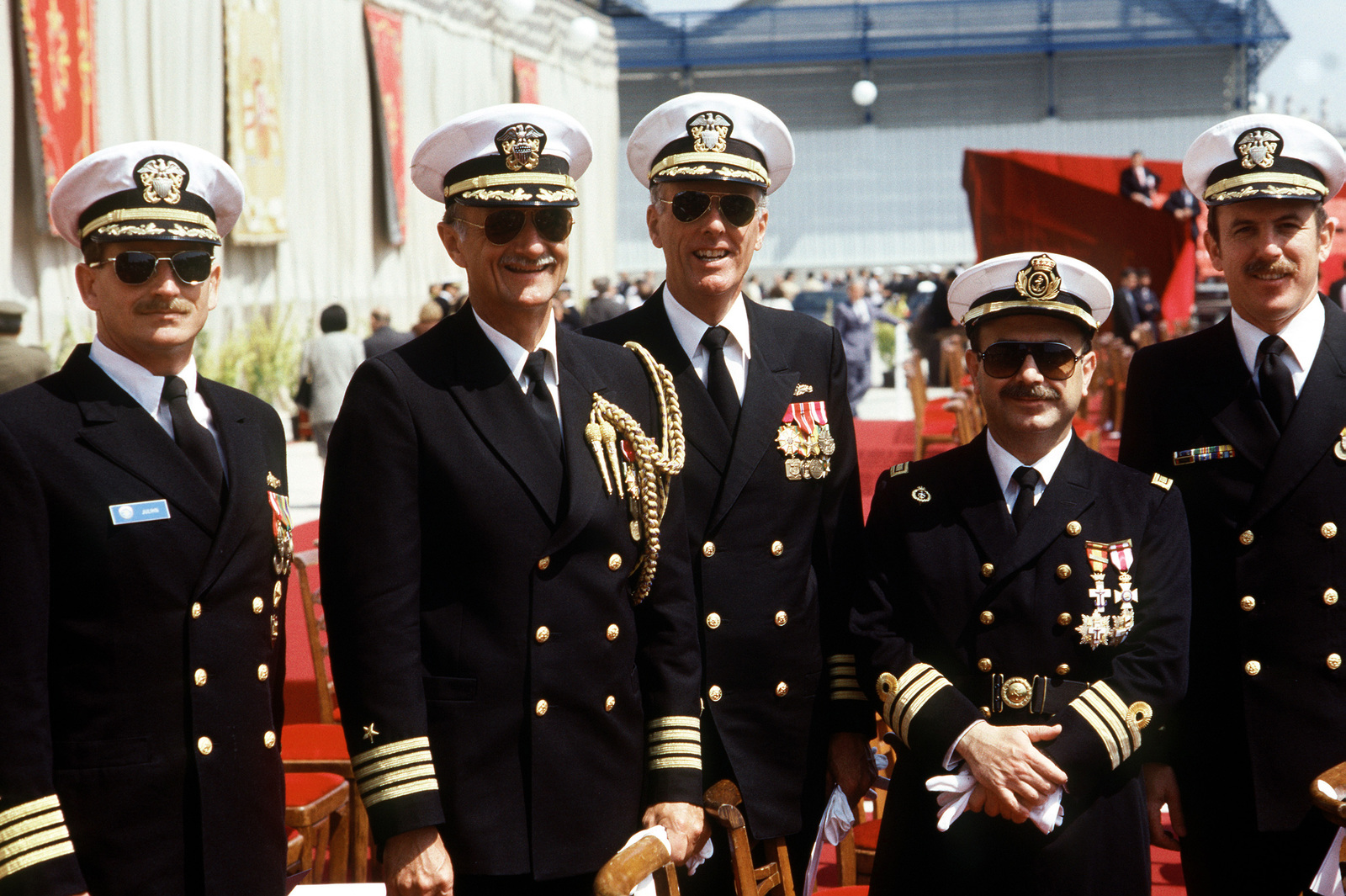 US Navy officers pose for a photograph with a Spanish navy ...