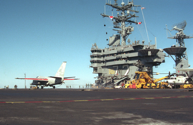 An Air Anti-submarine Squadron 29 (VS-29) S-3A Viking aircraft stands on the flight deck after landing aboard the nuclear-powered aircraft carrier USS ABRAHAM LINCOLN (CVN-27) during the vessel's circumnavigation of South America