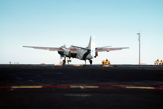 An Argentine navy S-2E Tracker aircraft lands on the flight deck of the nuclear-powered aircraft carrier USS ABRAHAM LINCOLN (CVN-72). The aircraft is taking part in touch-and-go operations aboard the LINCOLN during the ship's circumnavigation of South America