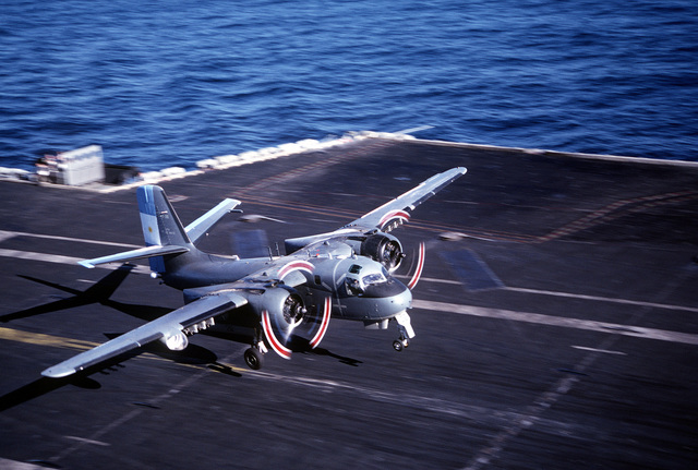 An Argentine navy S-2E Tracker aircraft lifts off the flight deck of the nuclear-powered aircraft carrier USS ABRAHAM LINCOLN (CVN-72). The aircraft is taking part in touch-and-go operations aboard the LINCOLN during the ship's circumnavigation of South America