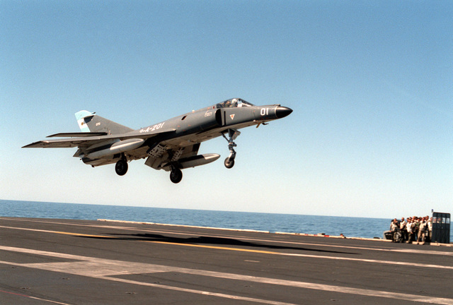 An Argentine navy Super Etendard aircraft lands on the nuclear-powered aircraft carrier USS ABRAHAM LINCOLN (CVN-72). The aircraft is taking part in touch-and-go operations aboard the LINCOLN during the ship's circumnavigation of South America