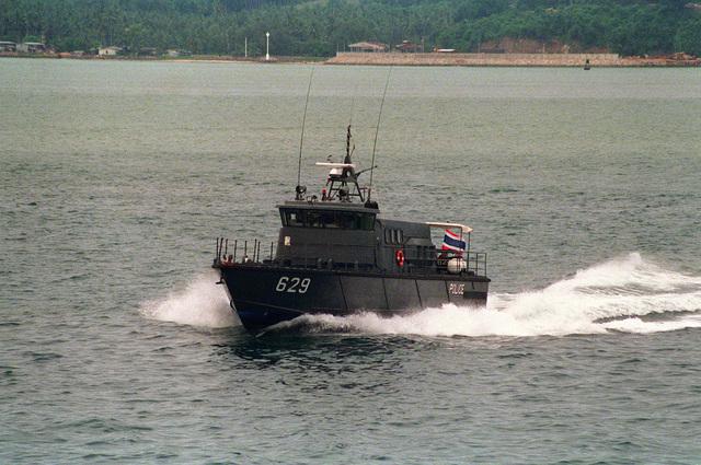 A costal patrol craft of the Thailand police patrols off Phuket, Thailand