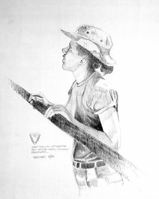"Artwork: ""Camp Dragon XVIII Airborne HQS Soldier Helps Construct FrameWork"". Artist: Peter Varisano. Catalog Number: 1.13.91"