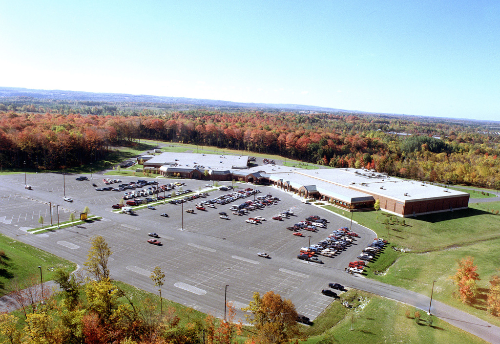An aerial view of the fort's Post Exchange/Commissary Complex, which was completed in November 1988