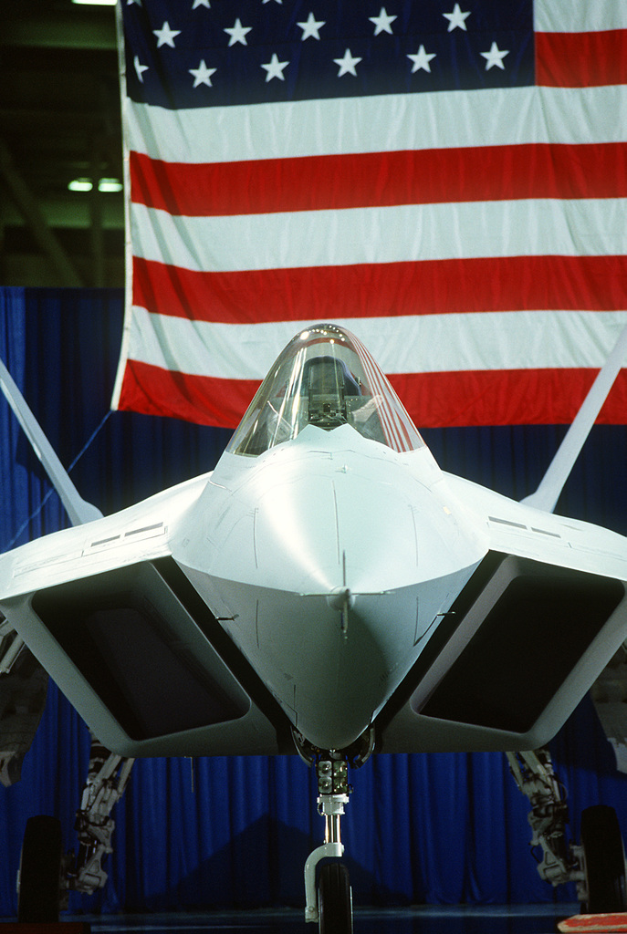 A close-up front view of a prototype YF-22 Advanced Tactical Fighter (ATF) aircraft