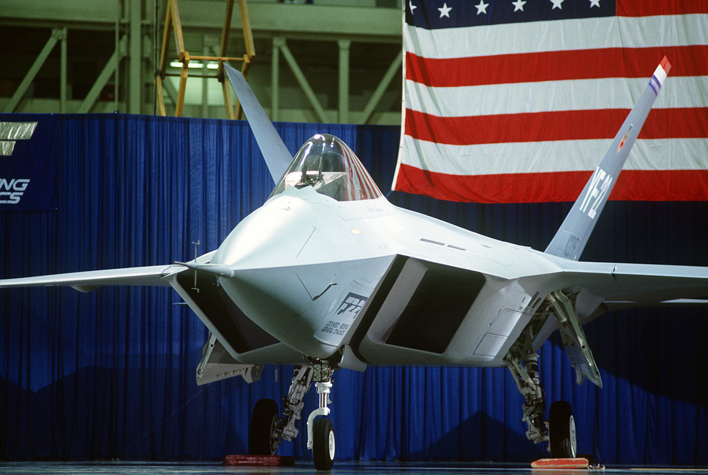 A close-up left front view of a prototype YF-22 Advanced Tactical Fighter (ATF) aircraft