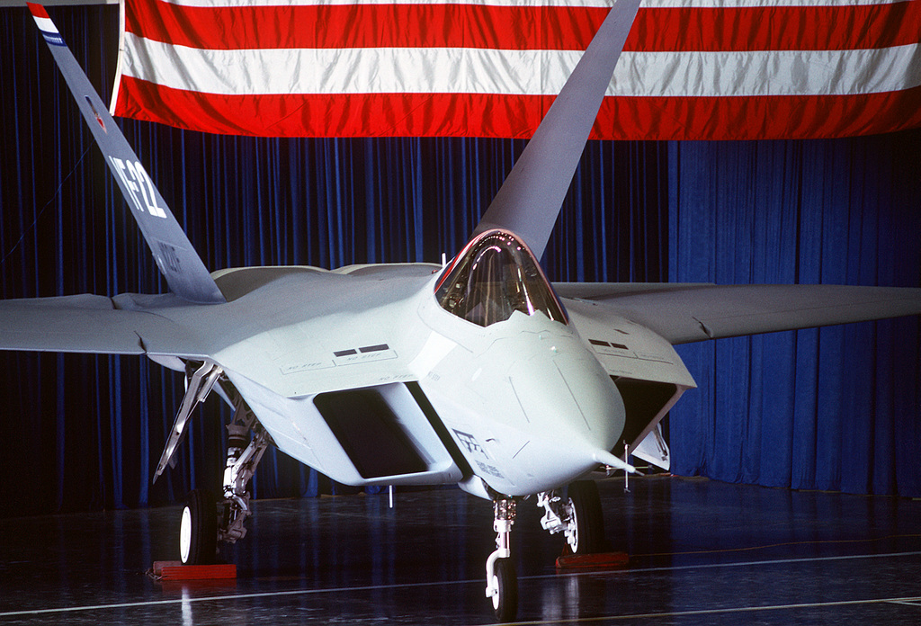 A close-up right front view of a prototype YF-22 Advanced Tactical Fighter (ATF) aircraft