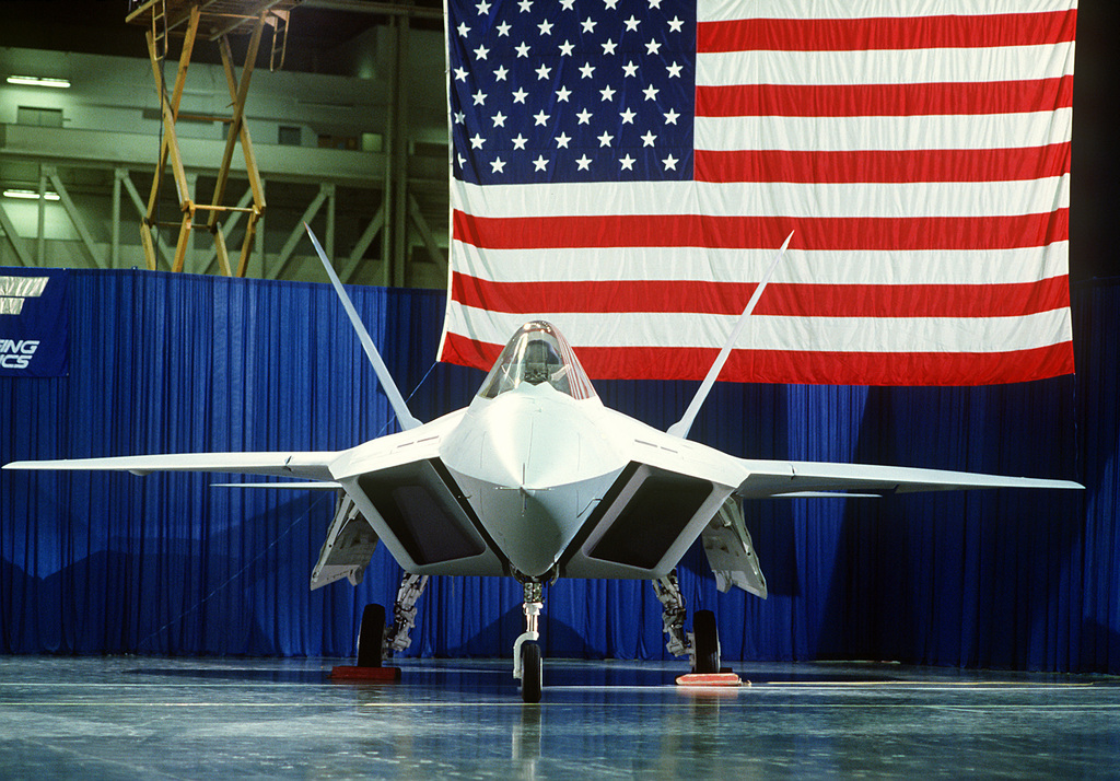 A front view of a prototype YF-22 Advanced Tactical Fighter (ATF) aircraft