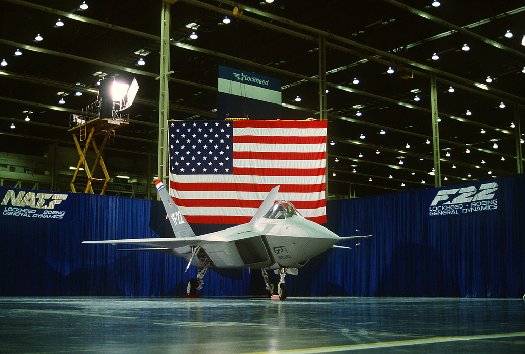A right front view of a prototype YF-22 Advanced Tactical Fighter (ATF) aircraft