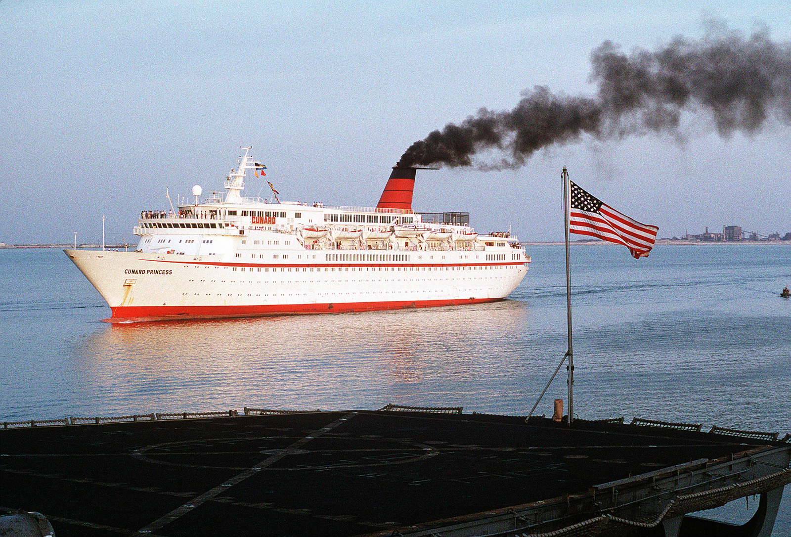 The British passenger liner Cunard Princess passes a U.S. Navy ship during Operation Desert Shield. The Cunard Princess is being used as a rest and relaxation vessel for Allied forces during Operation Desert Shield