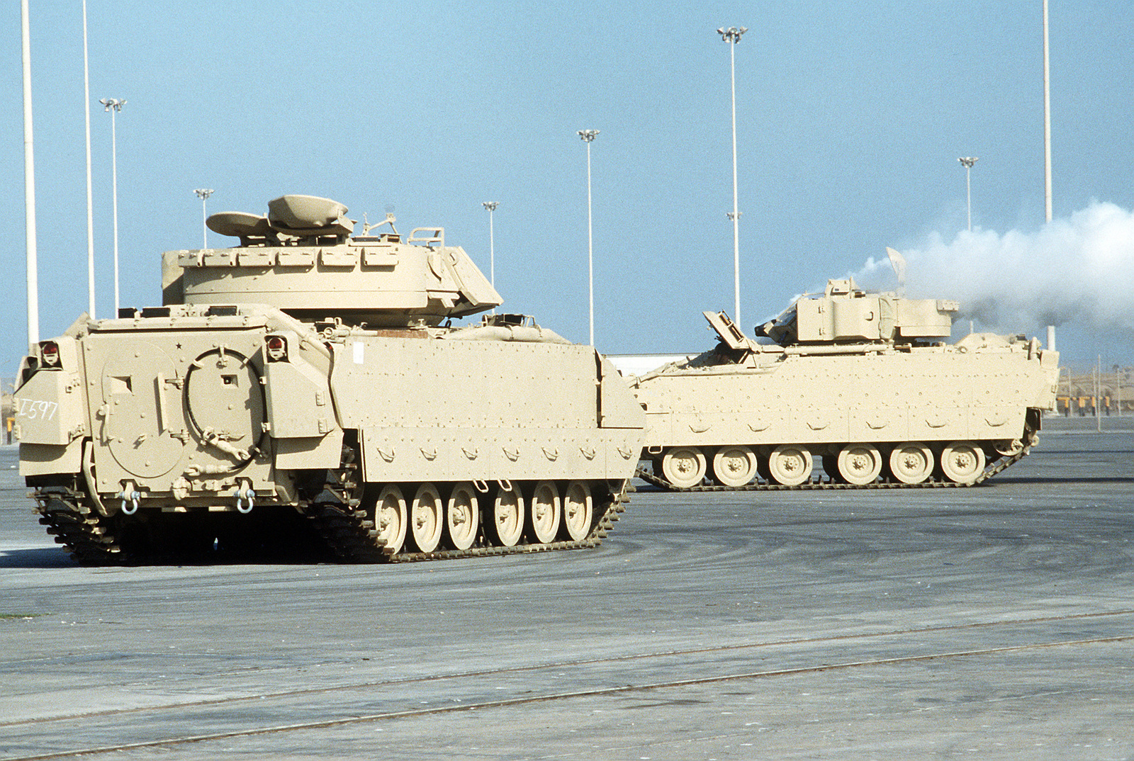 M-2A2 Bradley infantry fighting vehicles stand in a holding area prior to being issued to the 1ST Cavalry Division during Operation Desert Shield