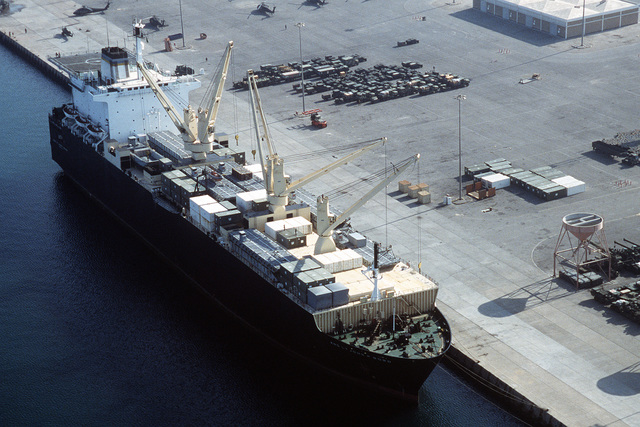 The vehicle cargo ship 2nd LT. JOHN P. BOBO (T-AK-3008) offloads cargo during Operation Desert Shield. The vessel is part of Maritime Pre-positioning Squadron 1.