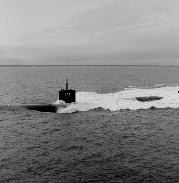 A port beam view of the nuclear-powered attack submarine USS SCRANTON (SSN-756) underway during sea trials off the Virginia Capes