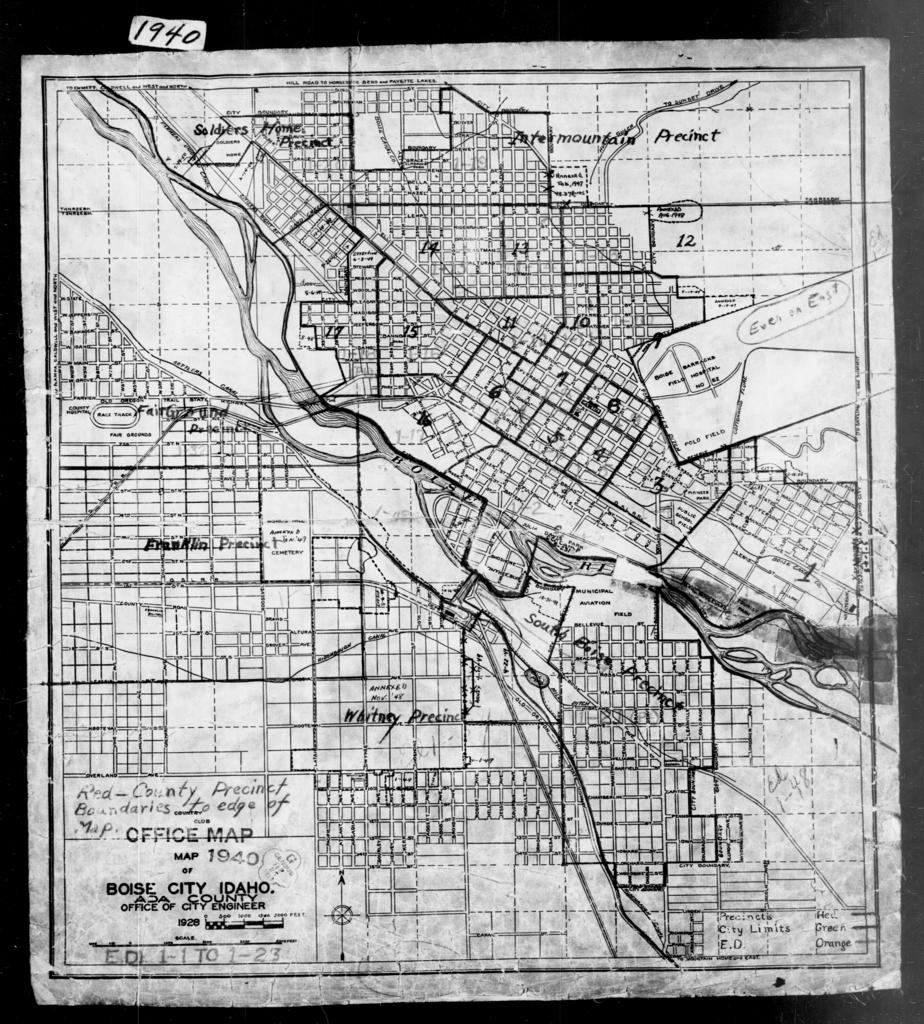 1940 Census Enumeration District Maps - Idaho - Ada County