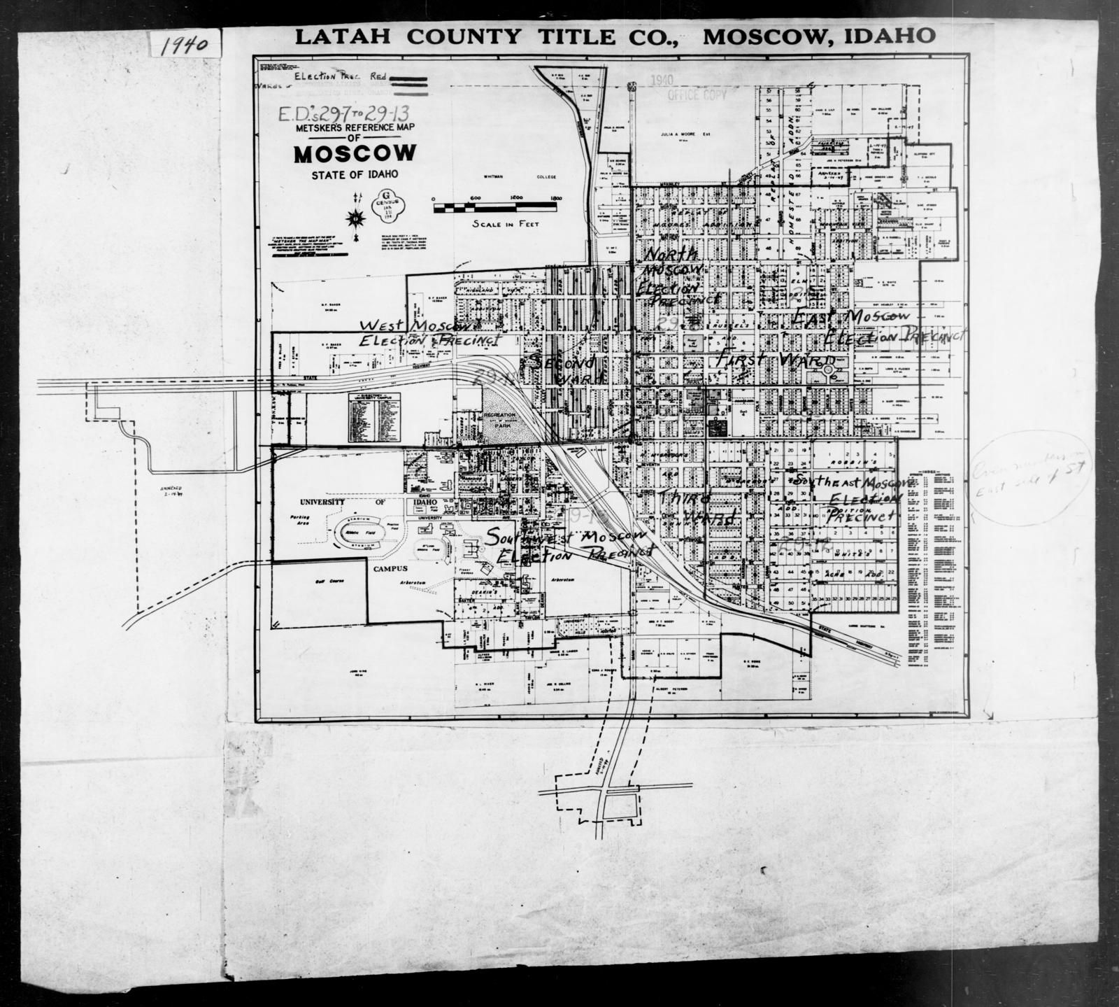 1940 Census Enumeration District Maps - Idaho - Latah County ... on moscow city map, moscow university map, antique moscow map,