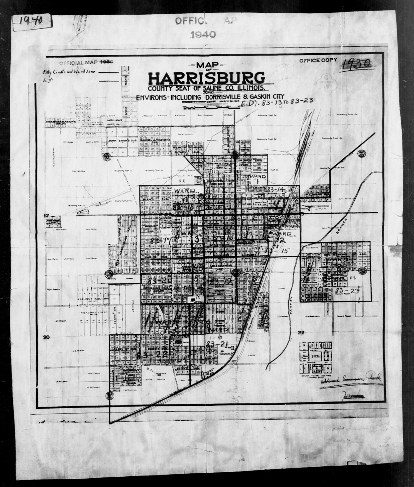 Harrisburg Illinois Map.1940 Census Enumeration District Maps Illinois Saline County