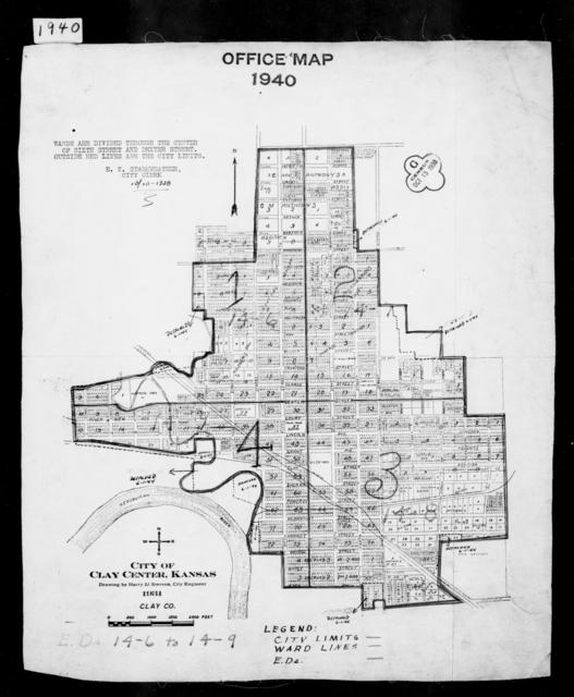 1940 Census Enumeration District Maps - Kansas - Clay County - Clay Center - ED 14-6, ED 14-7, ED 14-8, ED 14-9
