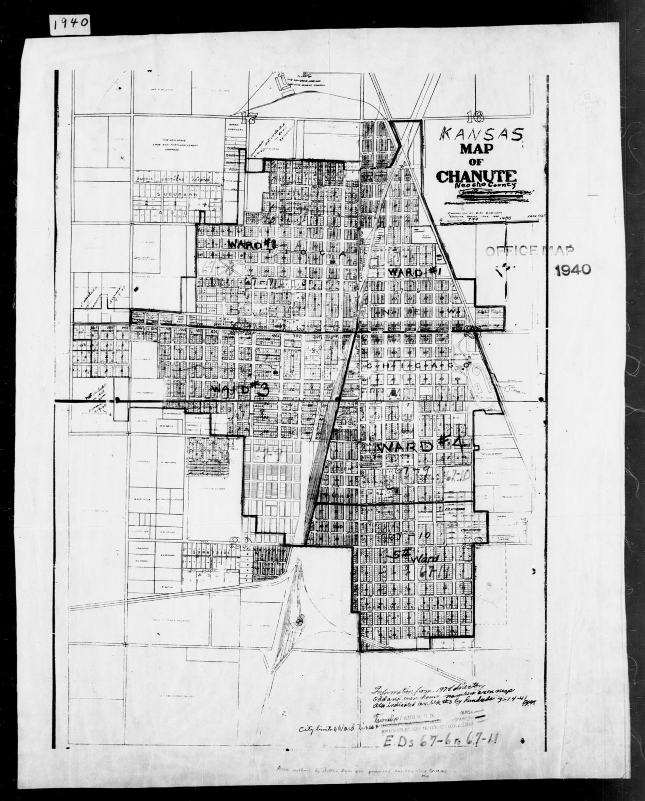 Chanute Kansas Map.1940 Census Enumeration District Maps Kansas Neosho County