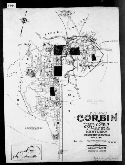 1940 Census Enumeration District Maps - Kentucky - Knox County - Corbin - ED 61-13