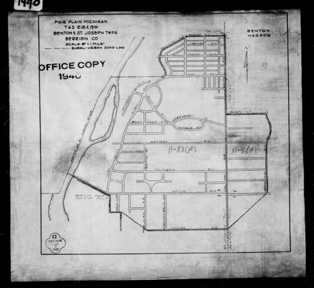 1940 Census Enumeration District Maps - Michigan - Berrien County - Fair Plain - ED 11-8B, ED 11-83A