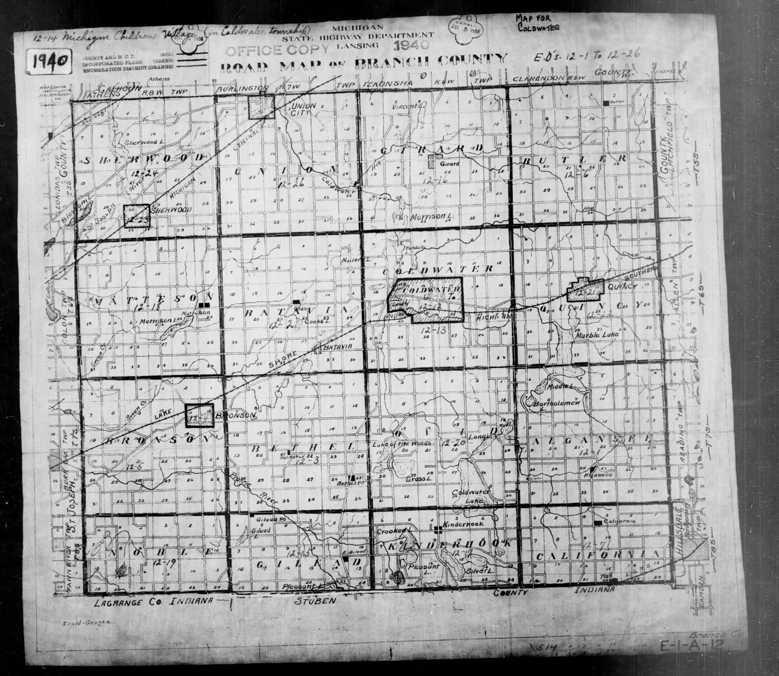 1940 Census Enumeration District Maps Michigan Branch County