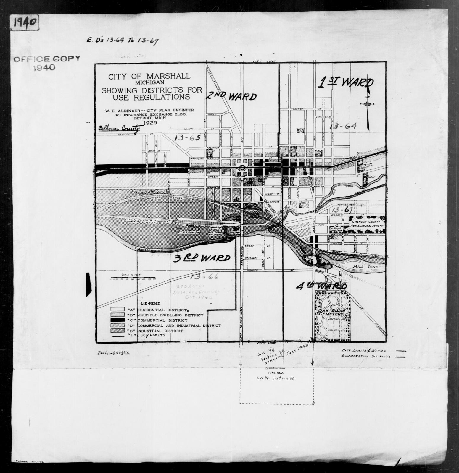 1940 Census Enumeration District Maps - Michigan - Calhoun