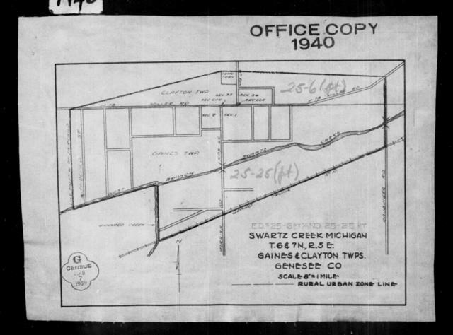 1940 Census Enumeration District Maps - Michigan - Genesee County - Swartz Creek - ED 25-6, ED 25-25