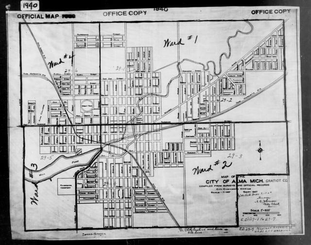 1940 Census Enumeration District Maps - Michigan - Gratiot County - Alma - ED 29-1, ED 29-2, ED 29-3, ED 29-4, ED 29-5, ED 29-6, ED 29-7