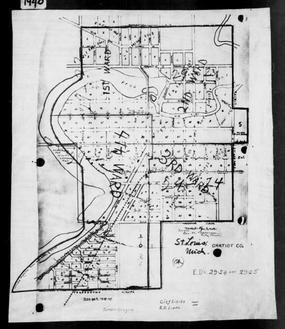 1940 Census Enumeration District Maps - Michigan - Gratiot County - St. Louis - ED 29-24, ED 29-25