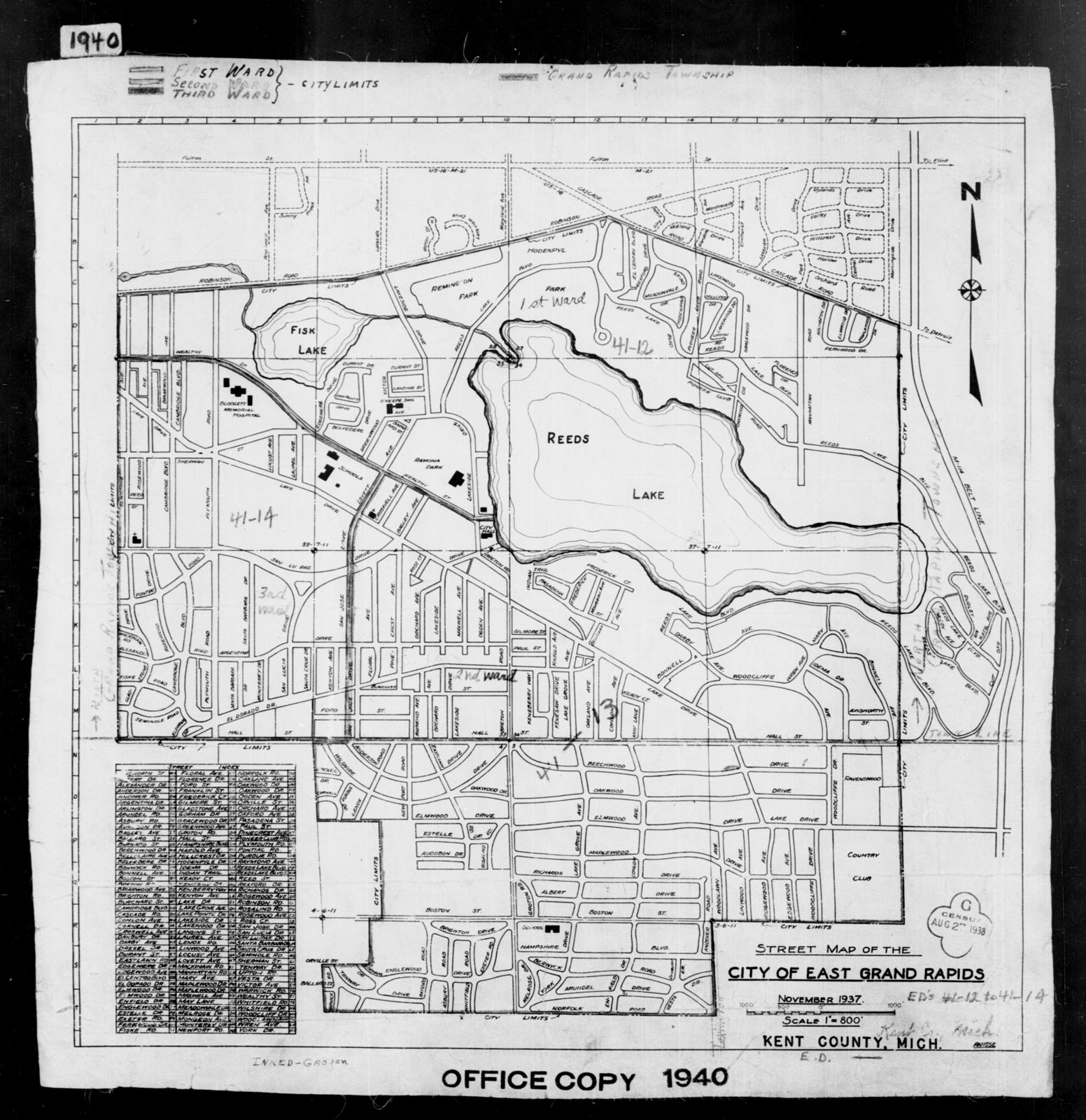 1940 Census Enumeration District Maps Michigan Kent County East Grand Rapids Ed 41 12 Ed 41 13 Ed 41 14 U S National Archives Public Domain Image