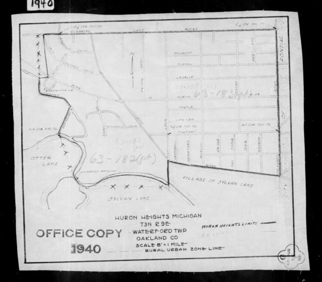 1940 Census Enumeration District Maps - Michigan - Oakland County - Huron Heights - ED 63-182, ED 63-183B