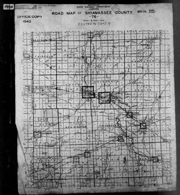1940 Census Enumeration District Maps - Michigan - Shiawassee County - ED 78-1 - ED 78-37