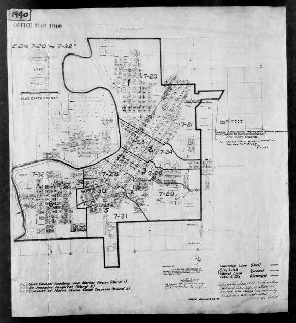 1940 Census Enumeration District Maps - Minnesota - Blue Earth County - Mankato - ED 7-20 - ED 7-32B