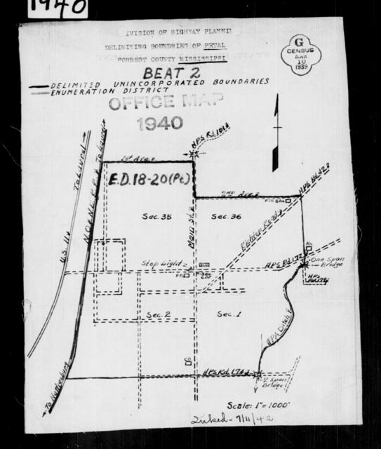 1940 Census Enumeration District Maps - Mississippi - Forrest County - Petal - ED 18-20B, ED 18-20C